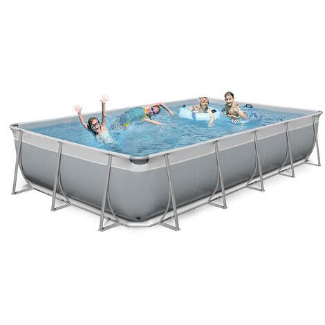 New Plast piscine hors sol rectangulaire 650x265 H125 kit et accessoires gris blanc FUTURA 650