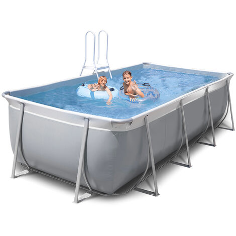 New Plast rechteckiger oberirdischer Pool 395x265 H125 grau-weiß komplett FUTURA 400