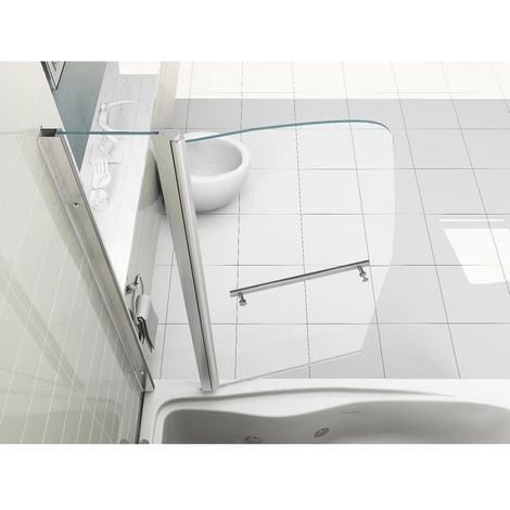 New Sail Style Pivot 6mm Glass Bath Shower Screen Double Panel