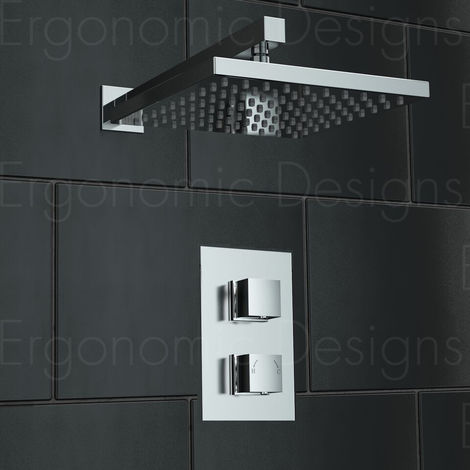 New Square Concealed Thermostatic Mixer Shower Valve Sets Chrome Uk Made