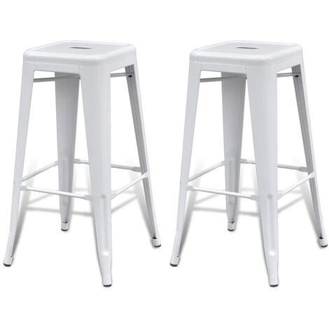 New Steel Bar Chair High Chair Stool Bar Furniture Square 2pcs White/Black/Red