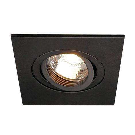 NEW TRIA XL CARRE GU10 encastré, noir mat, max. 50W, clips ressorts