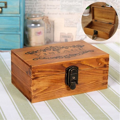 New Vintage Wooden Jewelry Box With Metal Lock And Gift Box Hasaki