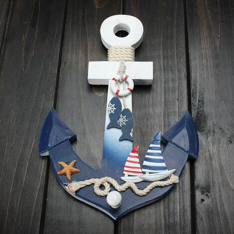 New Wooden Nautical Anchor Wall Hanging Hook Starfish Decor Coat Door Holder 28 * 20 Cm High Quality Hasaki