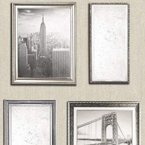 New York City Photo Frame Wallpaper Pearl Antique Gold Embossed Glitter Vintage