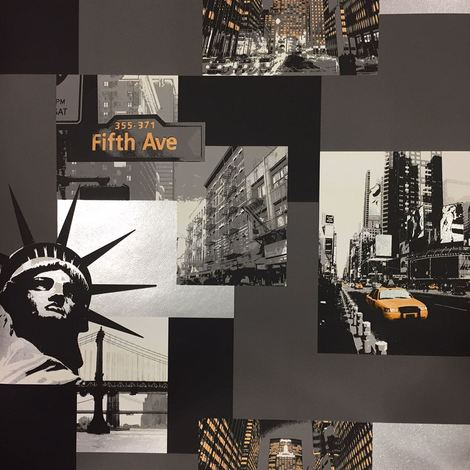 New York City USA Skyline Buildings Statue Wallpaper Grey Black Metallic Silver