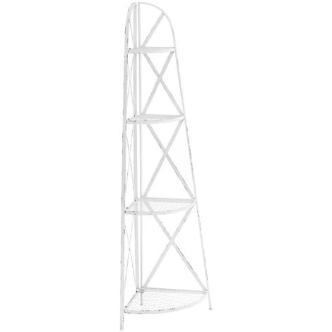 New York loft corner shelf unit, white distressed metal finish, 4 tier