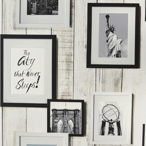 New York Photo Frame Wallpaper Grandeco White Wood Effect Vinyl Paste The Wall