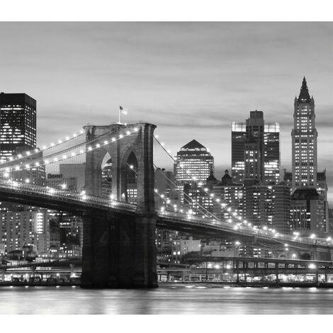 New York Rideau imprimé Pont de Brooklyn illuminé en noir et blanc 280x245 cm, 2 parts