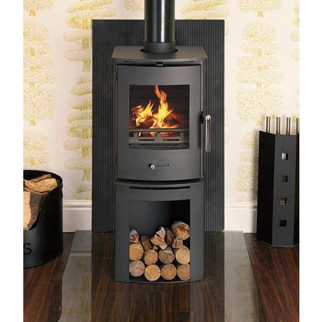 Newbourne 35FS Direct Air Eco Design Ready Wood Burning Stove With 400mm Log Store