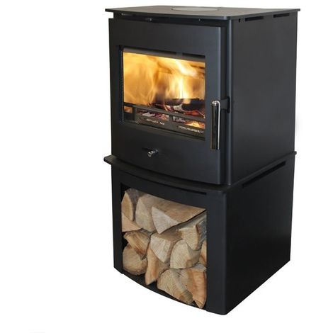 Newbourne 40FS Direct Air Eco Design Wood Burning Stove With 400mm Log Store