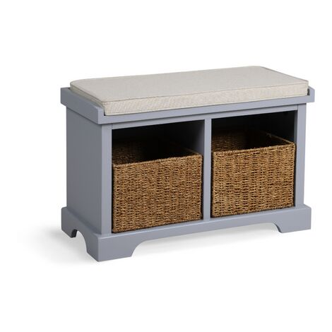 Newport 2 Basket Shoe Bench - Dove Grey