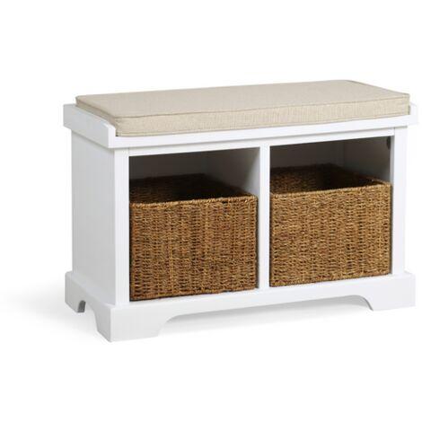 Newport 2 Basket Storage Bench In Paris White