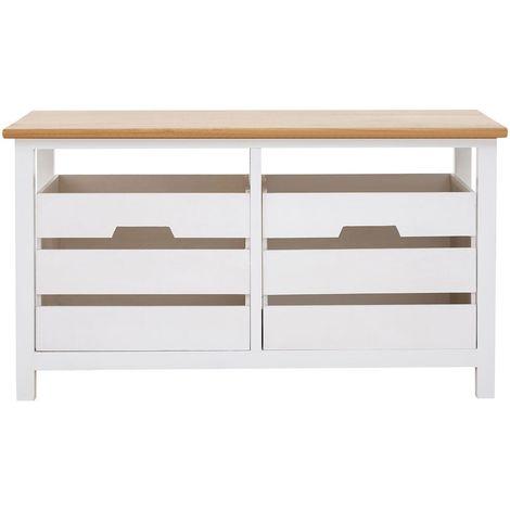 Newport 2 Drawer Bench, Natural Top, White Frame