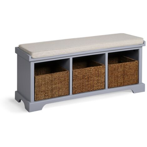 "main image of ""Newport 3 Basket Shoe Bench - Dove Grey"""