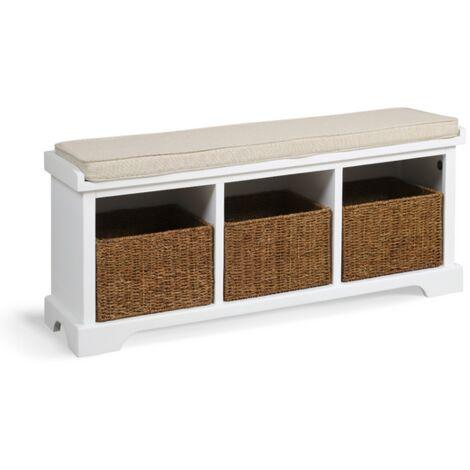 Newport 3 Basket Shoe Bench - Paris White