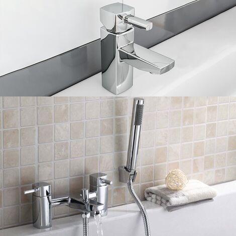 Newport Square Basin Sink Mono Mixer Tap & Bath Shower Mixer Tap Chrome
