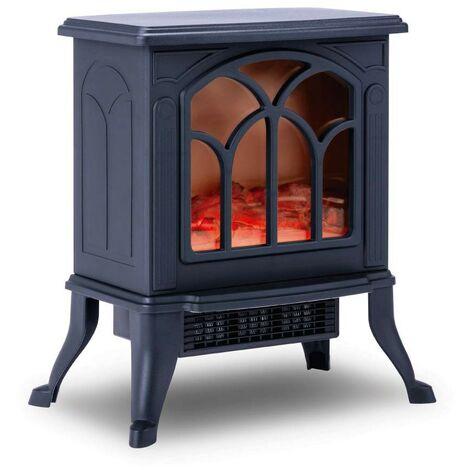 NEWTECK-Cheminée électrique à flamme classique décorative en céramique, portable, thermostat, 2 niveaux, sécurité de surchauffe - Noir
