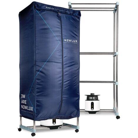 NEWTECK-Séchoir à Linge électrique mobile Secadry XXL. Multifonction,1200W, lumière UV, capacité 15kg, minuteur 180min,3 niveaux