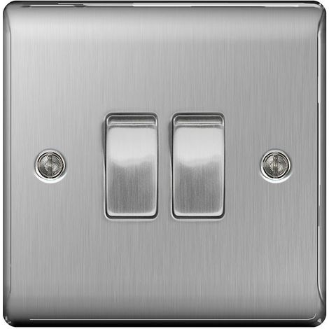 Nexus Metal 10A Double Light Switch, Brushed Steel Finish