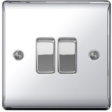 Nexus Metal 10A Double Light Switch, Polished Chrome Finish