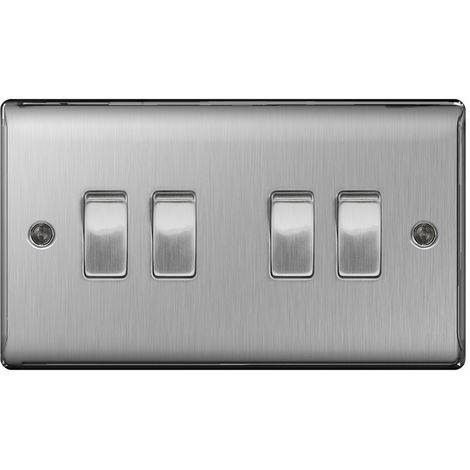 Nexus Metal 10A Four Way Light Switch, Brushed Steel Finish