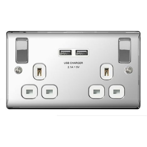 Nexus Metal 13A Double Plug Socket with 2 x USB Charger, Polished Chrome Finish, White Inserts