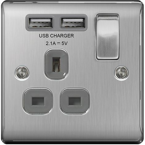 Nexus Metal 13A Single Plug Socket with 2 x USB Charger, Brushed Steel Finish, Grey Inserts