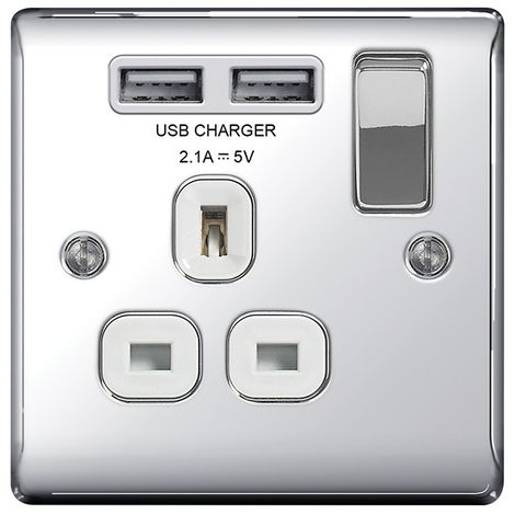 Nexus Metal 13A Single Plug Socket with 2 x USB Charger, Polished Chrome Finish, White Inserts
