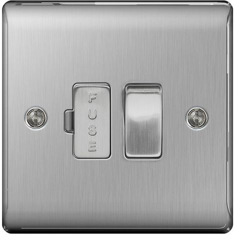 Nexus Metal 13A Switched Fused Connection Unit, Brushed Steel Finish