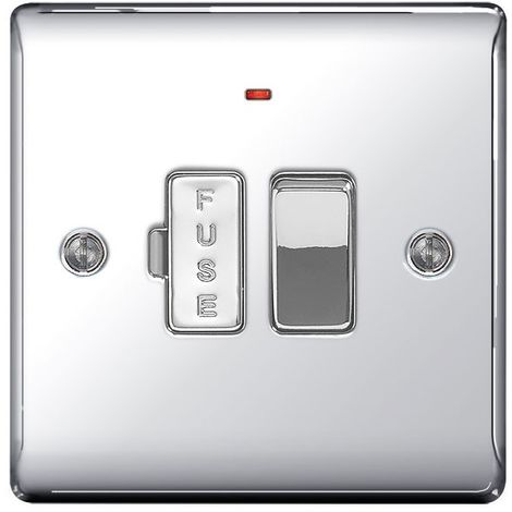 Nexus Metal 13A Switched Fused Connection Unit With Neon Power Indicator, Polished Chrome Finish