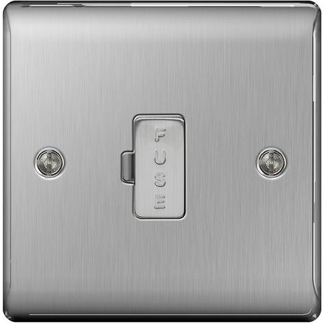 Nexus Metal 13A Un-Switched Fused Connection Unit, Brushed Steel Finish