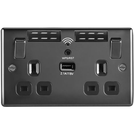 Nexus Metal 13A WIFI Range Extender Double Plug Socket With 1 x USB (2.1A), Black Nickel Finish, Black Inserts