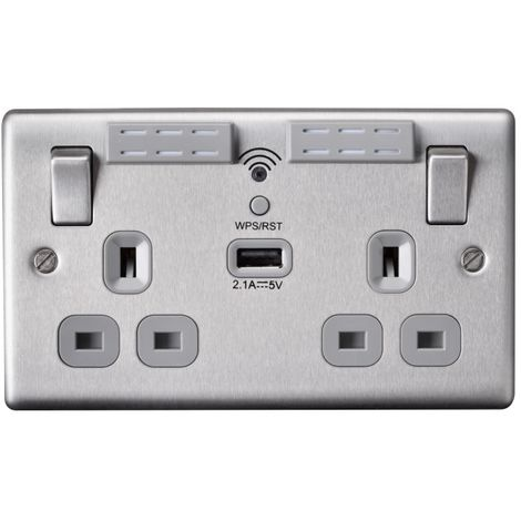 Nexus Metal 13A WIFI Range Extender Double Plug Socket With 1 x USB (2.1A), Brushed Steel Finish, Grey Inserts