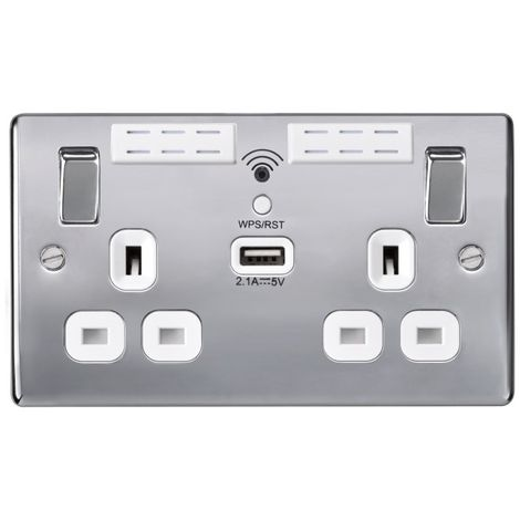 Nexus Metal 13A WIFI Range Extender Double Plug Socket With 1 x USB (2.1A), Polished Chrome Finish, White Inserts