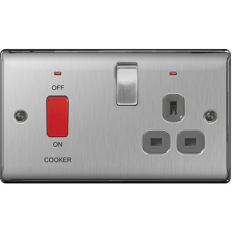 Nexus Metal 45A Single Cooker Switch and 13A Plug Socket, Brushed Steel Finish, Grey Inserts