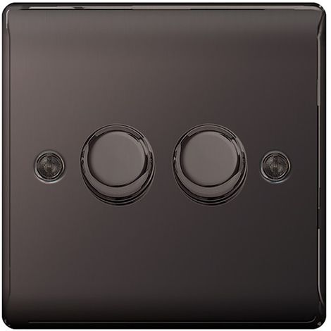 Nexus Metal Double Dimmer Switch, Push On/Off 400W, Black Nickel Finish