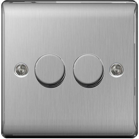 Nexus Metal Double Dimmer Switch, Push On/Off 400W, Brushed Steel Finish