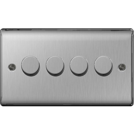 Nexus Metal Four Way Dimmer Switch, Push On/Off 400W, Brushed Steel Finish