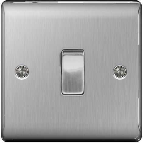 Nexus Metal NBS12 10A Single Light Switch, Brushed Steel Finish