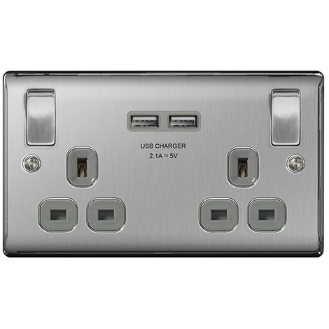 Nexus Metal NBS22UG 13A Double Plug Socket with 2 x USB Charger (3.1A), Brushed Steel Finish, Grey Inserts