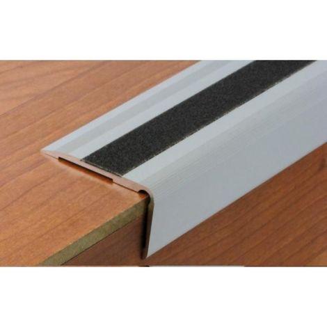 Nez de marche en aluminium pour usage tertiaire intérieur modèle 3T à bande - pose en applique avec adhésifs