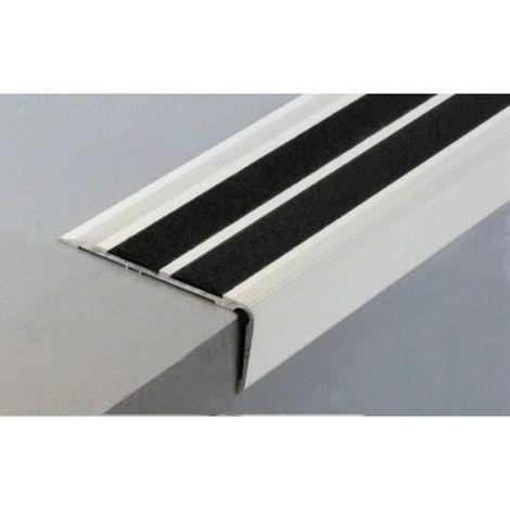 Nez de marche en aluminium pour usage tertiaire intérieur modèle 6T à 2 bandes - pose en applique avec adhésifs