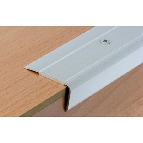 Nez de marche en aluminium pour usage tertiaire intérieur ou extérieur modèle 43V - Médium à visser finition naturel