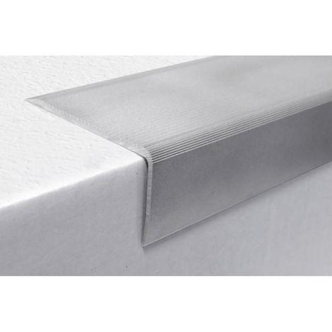 Nez de marche en aluminium type 9 T avec perçages décalés pour rénovation en 70 x 35 x 3000 mm