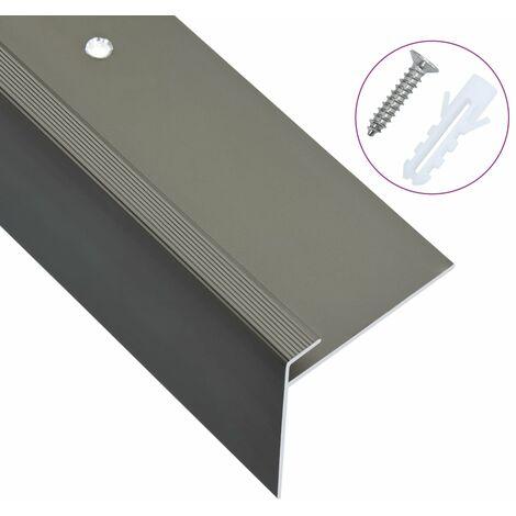 Nez de marche Forme en F 15 pcs Aluminium 90 cm Marron