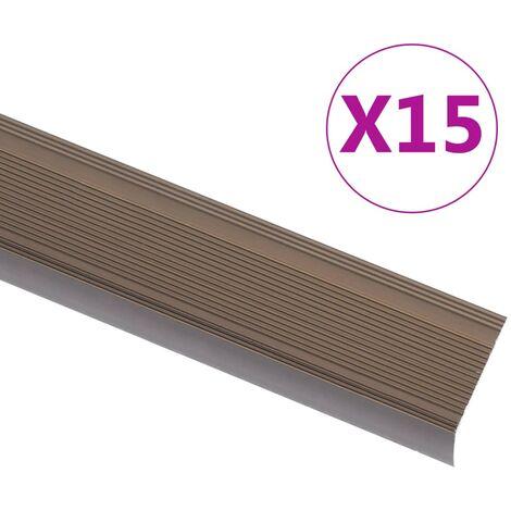 Nez de marche Forme en L 15 pcs Aluminium 100 cm Marron