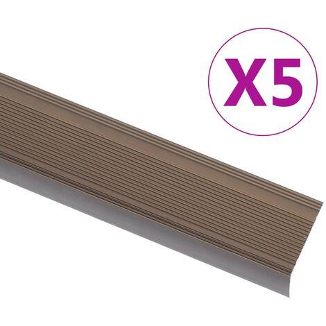 Nez de marche Forme en L 5 pcs Aluminium 90 cm Marron