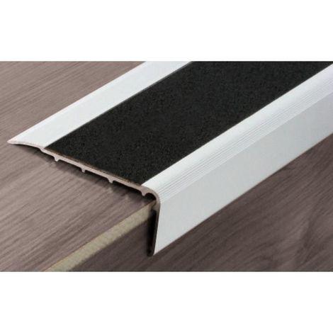 Nez de marche intérieur ISBA type B11 alu naturel bande noire en 3000 mm adhésif