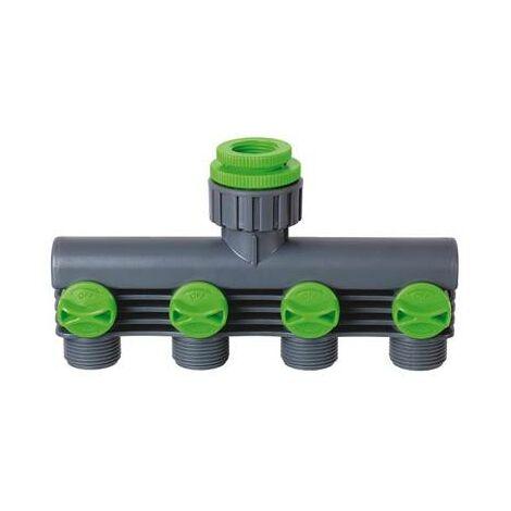 Nez de robinet 4 circuits pour arrosage jardin multi-voies